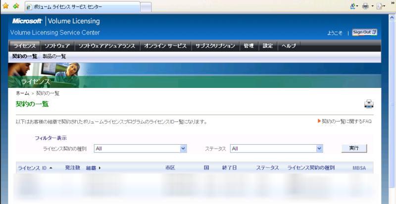 いつのまにかeOpenがMicrosoft Volume Licensing Service Center